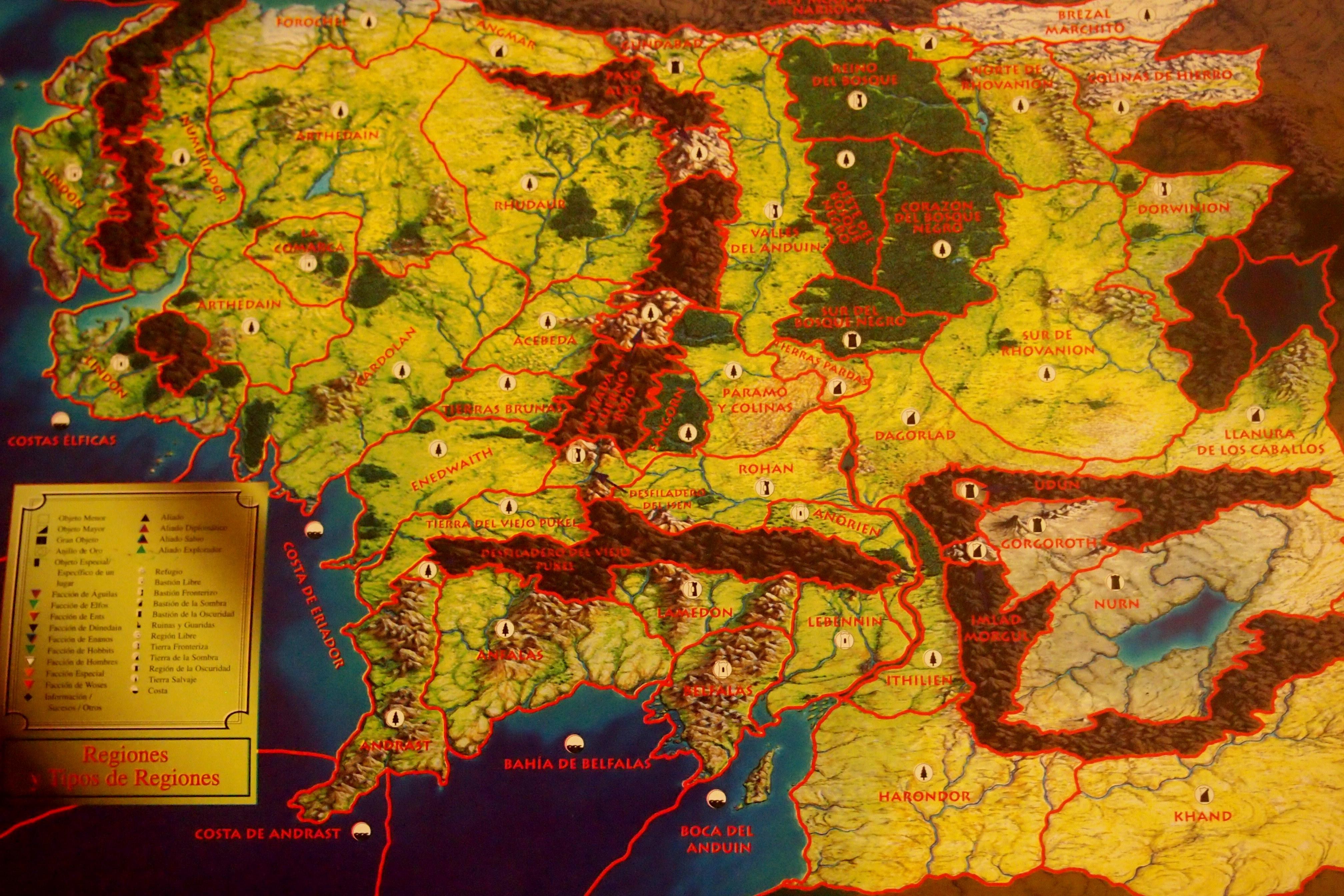 Mapa Tierra Media Detallado.Asi Es El Senor De Los Anillos Juego De Cartas