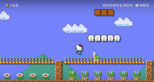 Hello Kitty en Super Mario Maker